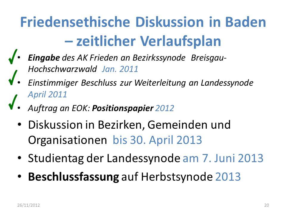 Friedensethische Diskussion in Baden – zeitlicher Verlaufsplan Eingabe des AK Frieden an Bezirkssynode Breisgau- Hochschwarzwald Jan. 2011 Einstimmige
