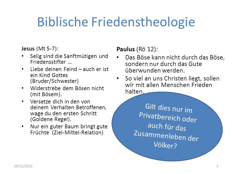 Biblische Friedenstheologie Jesus (Mt 5-7): Selig sind die Sanftmütigen und Friedensstifter … Liebe deinen Feind – auch er ist ein Kind Gottes (Bruder