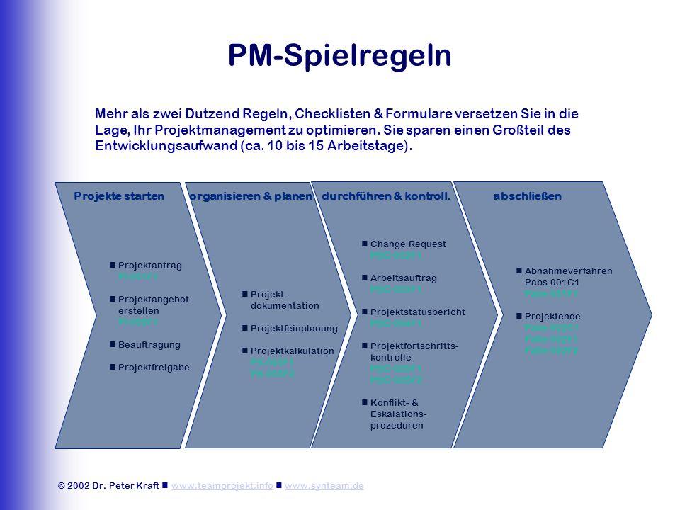 © 2002 Dr. Peter Kraft www.teamprojekt.info www.synteam.dewww.teamprojekt.infowww.synteam.de PM-Spielregeln organisieren & planendurchführen & kontrol