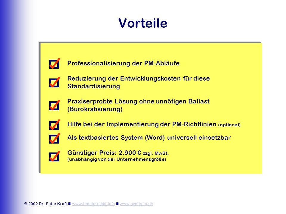 © 2002 Dr. Peter Kraft www.teamprojekt.info www.synteam.dewww.teamprojekt.infowww.synteam.de Vorteile Professionalisierung der PM-Abläufe Reduzierung