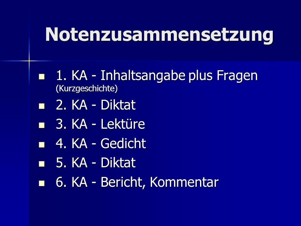 Notenzusammensetzung 1. KA - Inhaltsangabe plus Fragen (Kurzgeschichte) 1. KA - Inhaltsangabe plus Fragen (Kurzgeschichte) 2. KA - Diktat 2. KA - Dikt