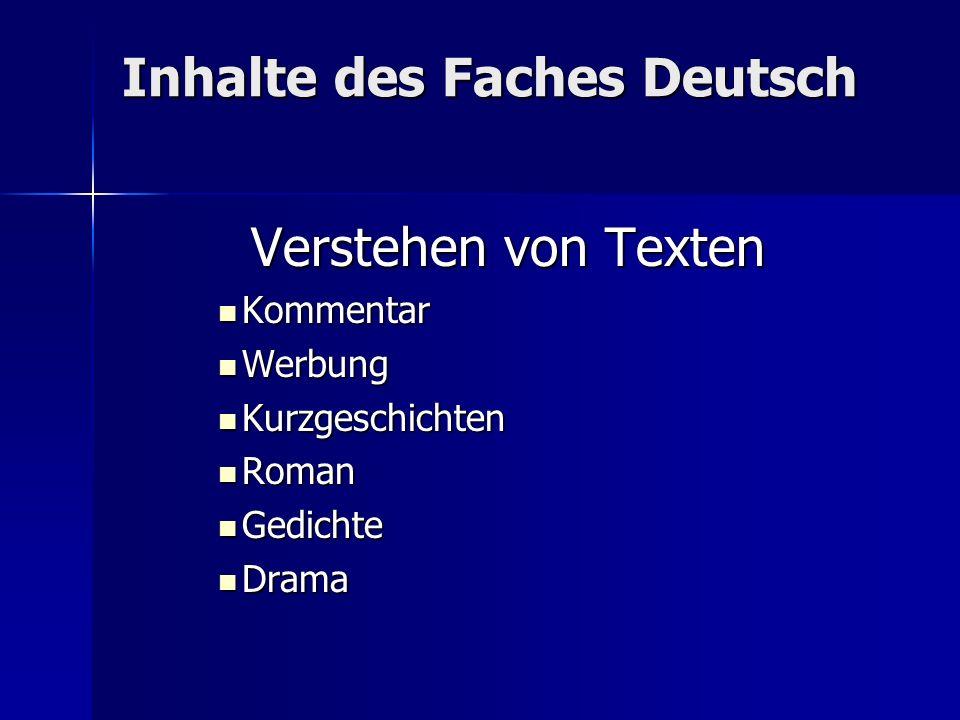 Inhalte des Faches Deutsch Verstehen von Texten Kommentar Kommentar Werbung Werbung Kurzgeschichten Kurzgeschichten Roman Roman Gedichte Gedichte Dram