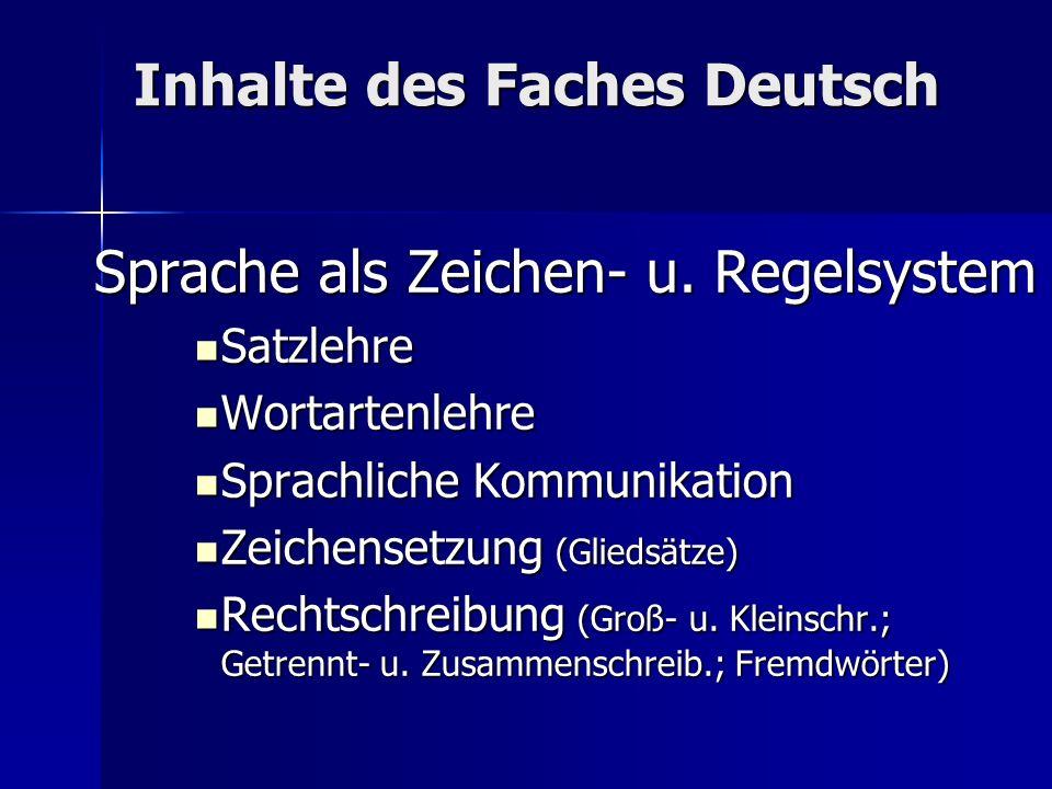 Inhalte des Faches Deutsch Sprache als Zeichen- u. Regelsystem Satzlehre Satzlehre Wortartenlehre Wortartenlehre Sprachliche Kommunikation Sprachliche