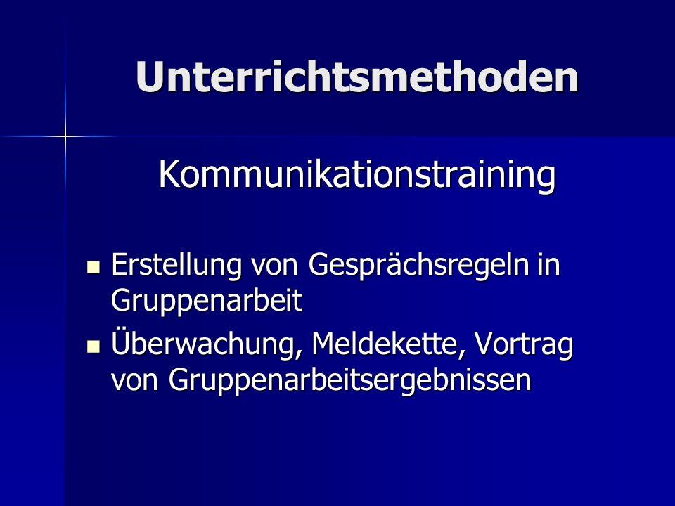 Unterrichtsmethoden Kommunikationstraining Erstellung von Gesprächsregeln in Gruppenarbeit Erstellung von Gesprächsregeln in Gruppenarbeit Überwachung