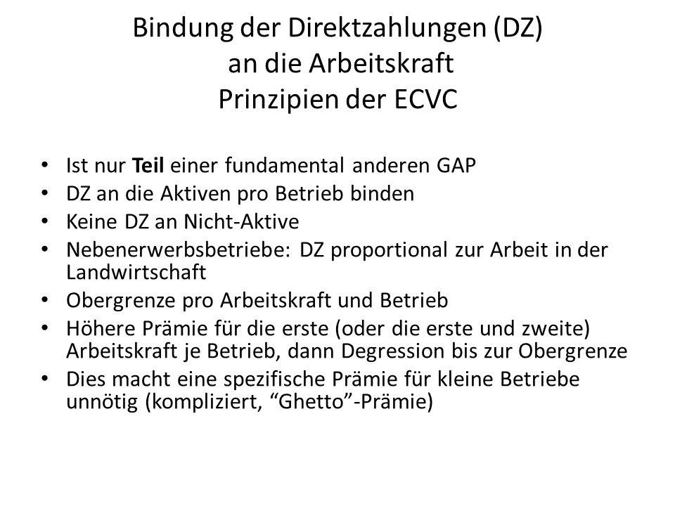 Bindung der Direktzahlungen (DZ) an die Arbeitskraft Prinzipien der ECVC Ist nur Teil einer fundamental anderen GAP DZ an die Aktiven pro Betrieb bind