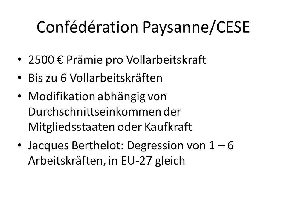 Confédération Paysanne/CESE 2500 Prämie pro Vollarbeitskraft Bis zu 6 Vollarbeitskräften Modifikation abhängig von Durchschnittseinkommen der Mitgliedsstaaten oder Kaufkraft Jacques Berthelot: Degression von 1 – 6 Arbeitskräften, in EU-27 gleich
