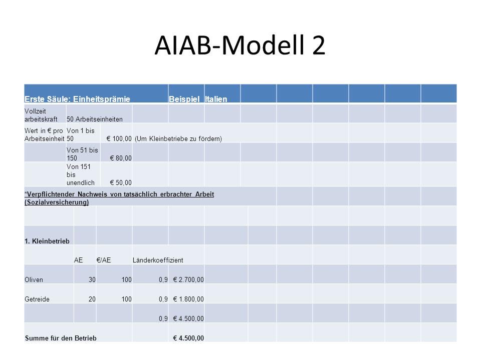 AIAB-Modell 2 Erste Säule: EinheitsprämieBeispielItalien Vollzeit arbeitskraft50 Arbeitseinheiten Wert in pro Arbeitseinheit Von 1 bis 50 100,00 (Um Kleinbetriebe zu fördern) Von 51 bis 150 80,00 Von 151 bis unendlich 50,00 *Verpflichtender Nachweis von tatsächlich erbrachter Arbeit (Sozialversicherung) 1.