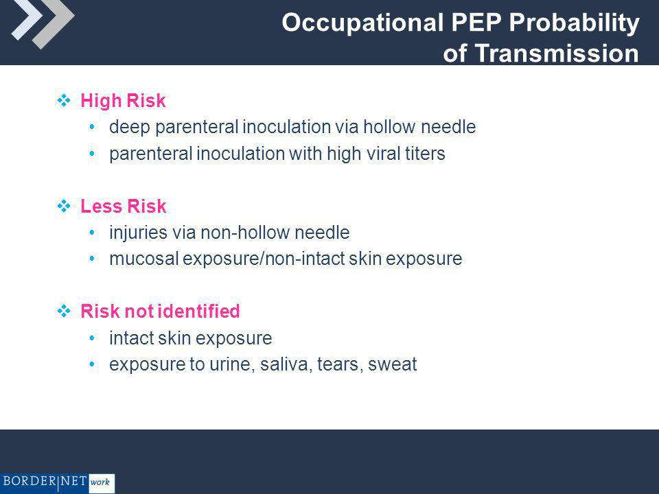 Exposure Risk Little information on efficacy of PEP in humans Seroconversion infrequent following occupational exposure to HIV- infected blood Use of Zidovudine (ZDV) was associated with an 81% decrease in the risk for HIV infection limitations include a small number of cases, and that cases and controls came from different cohorts (Cardo et al, NEJM 1997;337:1485-90.)