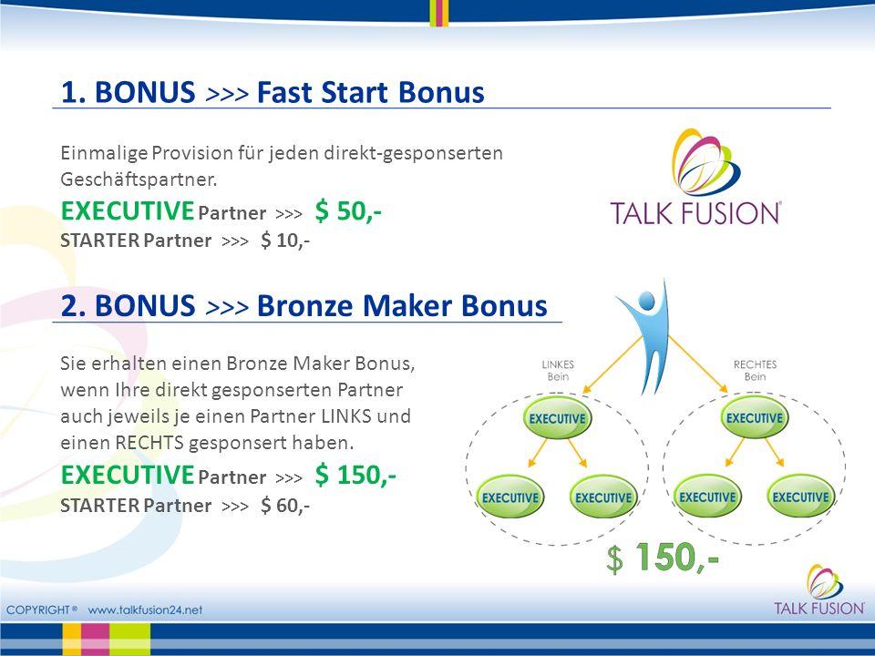 1.BONUS >>> Fast Start Bonus Einmalige Provision für jeden direkt-gesponserten Geschäftspartner.