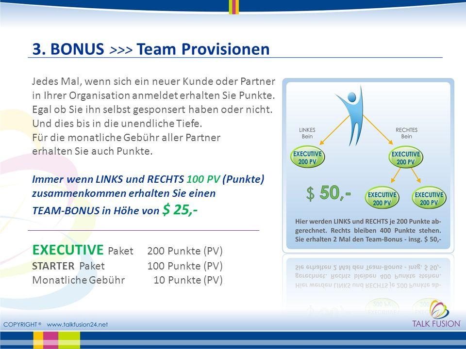 3. BONUS >>> Team Provisionen Jedes Mal, wenn sich ein neuer Kunde oder Partner in Ihrer Organisation anmeldet erhalten Sie Punkte. Egal ob Sie ihn se