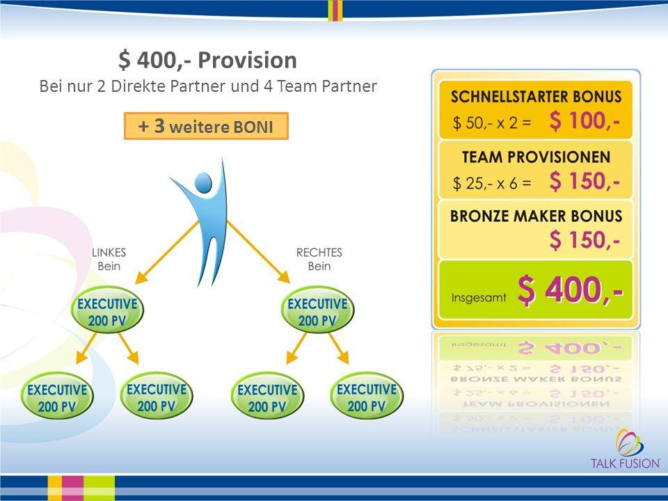 $ 400,- Provision Bei nur 2 Direkte Partner und 4 Team Partner + 3 weitere BONI
