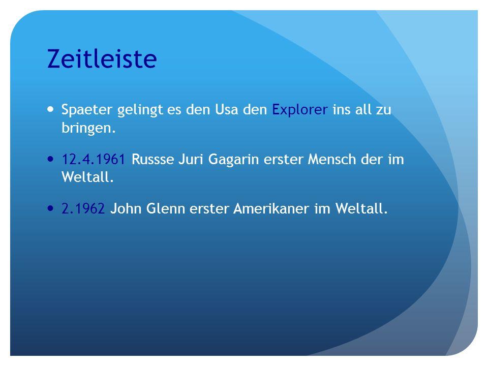 Zeitleiste Spaeter gelingt es den Usa den Explorer ins all zu bringen. 12.4.1961 Russse Juri Gagarin erster Mensch der im Weltall. 2.1962 John Glenn e