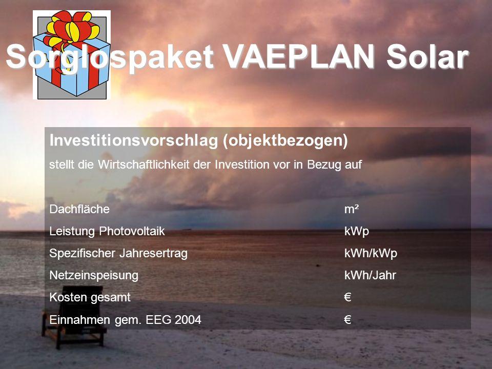 Investitionsvorschlag (objektbezogen) stellt die Wirtschaftlichkeit der Investition vor in Bezug auf Dachflächem² Leistung PhotovoltaikkWp Spezifische