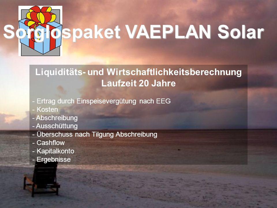 Liquiditäts- und Wirtschaftlichkeitsberechnung Laufzeit 20 Jahre - Ertrag durch Einspeisevergütung nach EEG - Kosten - Abschreibung - Ausschüttung - Ü