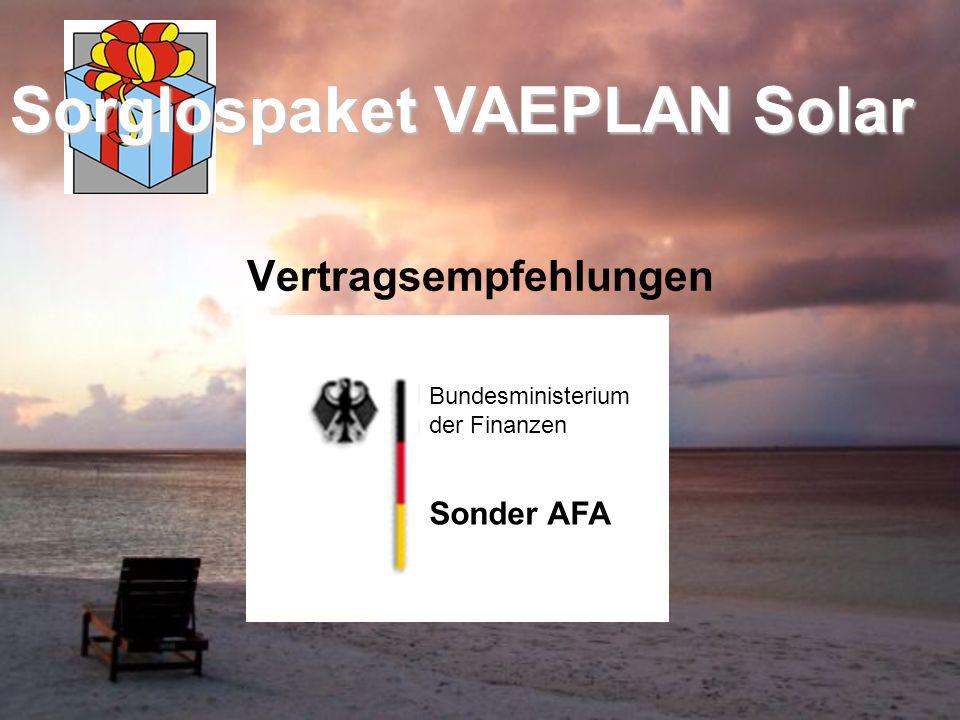 Vertragsempfehlungen Sonder AFA Bundesministerium der Finanzen Sorglospaket VAEPLAN Solar