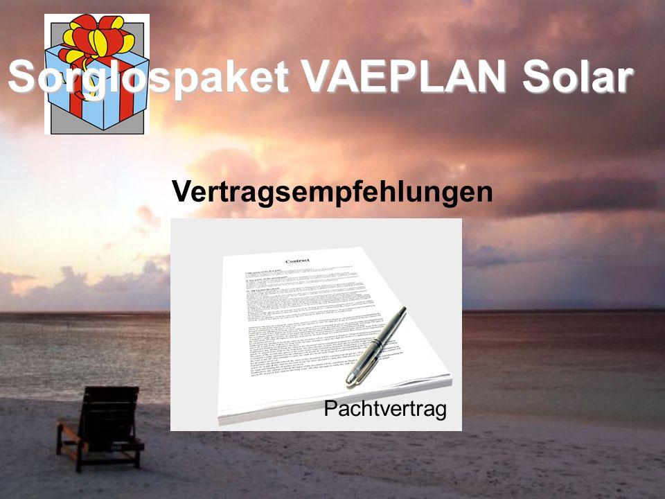 Vertragsempfehlungen Sorglospaket VAEPLAN Solar Pachtvertrag