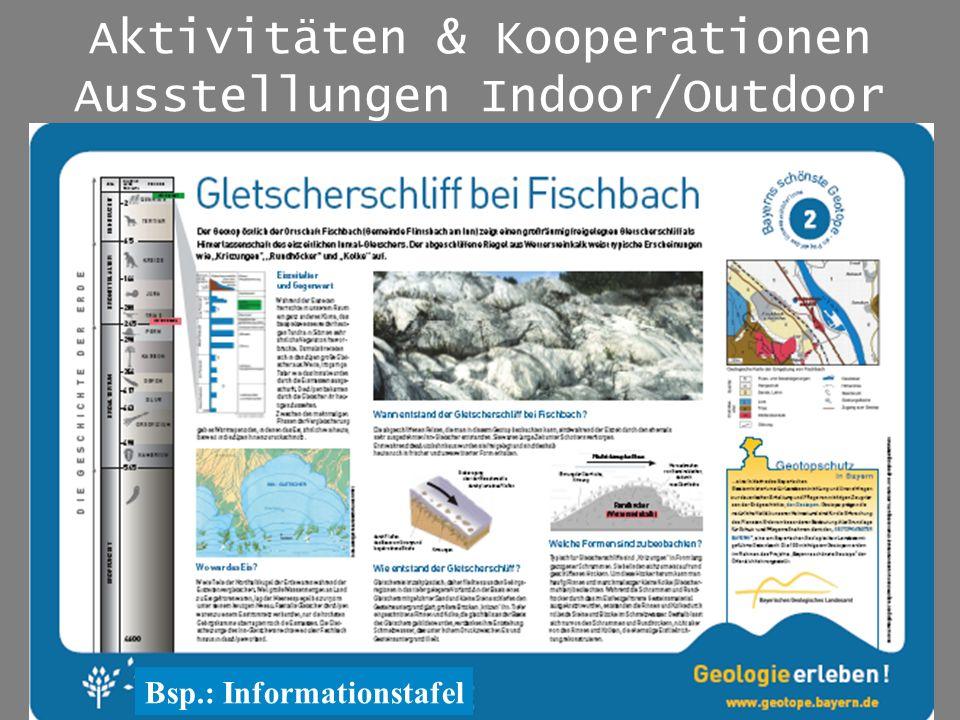 Aktivitäten & Kooperationen Ausstellungen Indoor/Outdoor Bsp.: Informationstafel