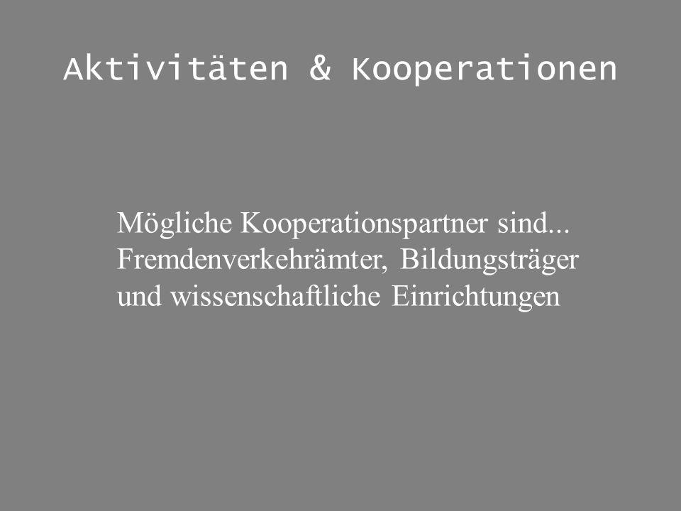 Aktivitäten & Kooperationen Mögliche Kooperationspartner sind... Fremdenverkehrämter, Bildungsträger und wissenschaftliche Einrichtungen