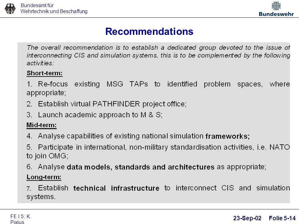 Bundesamt für Wehrtechnik und Beschaffung FE I 5; K. Pixius 23-Sep-02 Folie 5-14 Recommendations