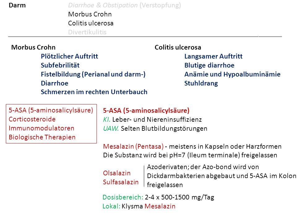 Morbus Crohn Plötzlicher Auftritt Subfebrilität Fistelbildung (Perianal und darm-) Diarrhoe Schmerzen im rechten Unterbauch Colitis ulcerosa Langsamer