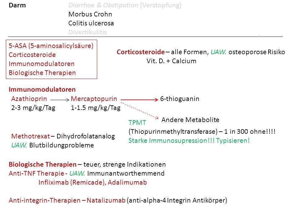 5-ASA (5-aminosalicylsäure) Corticosteroide Immunomodulatoren Biologische Therapien Corticosteroide – alle Formen, UAW. osteoporose Risiko Vit. D. + C