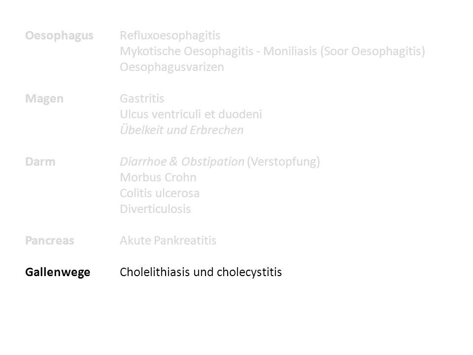 OesophagusRefluxoesophagitis Mykotische Oesophagitis - Moniliasis (Soor Oesophagitis) Oesophagusvarizen MagenGastritis Ulcus ventriculi et duodeni Übe