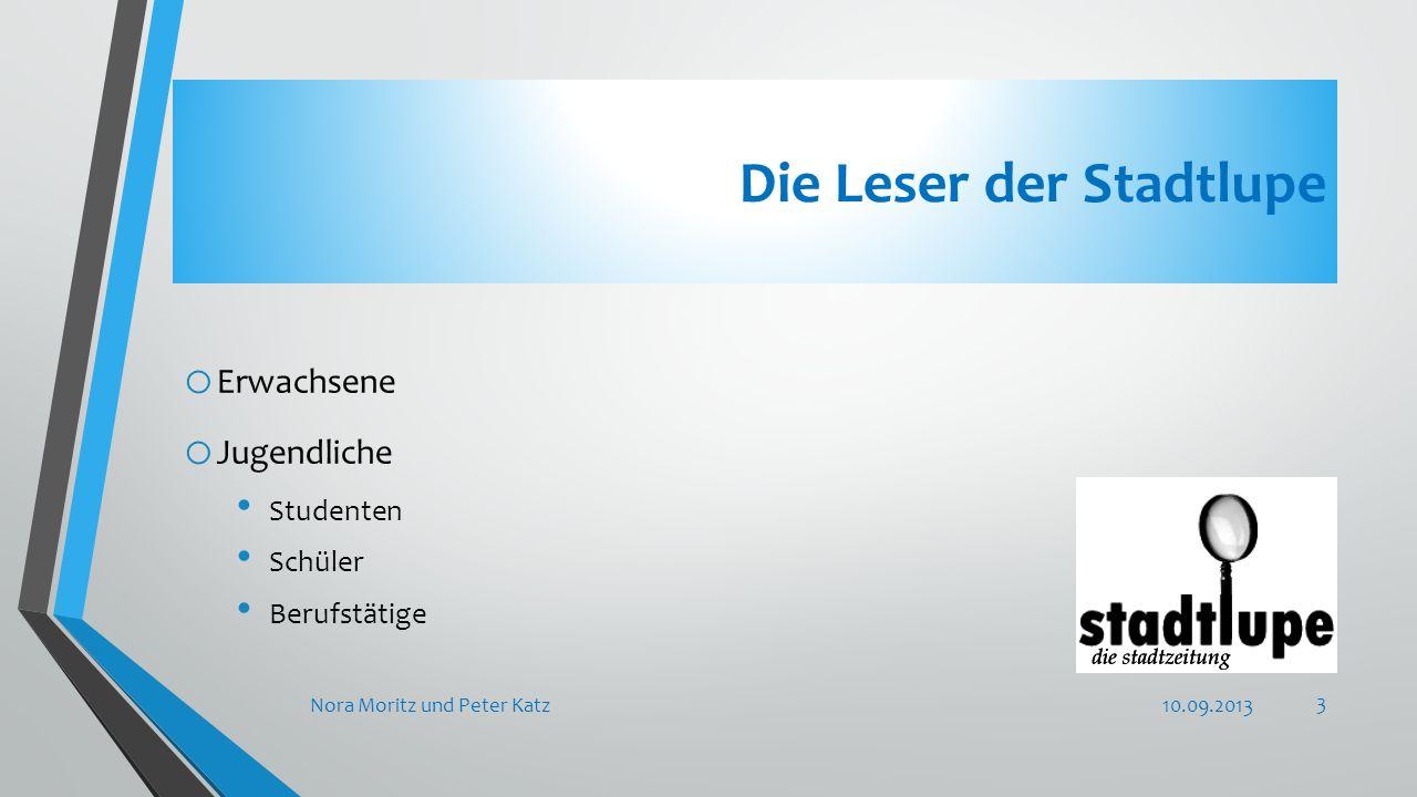 Die Leser der Stadtlupe o Erwachsene o Jugendliche Studenten Schüler Berufstätige 10.09.2013Nora Moritz und Peter Katz 3