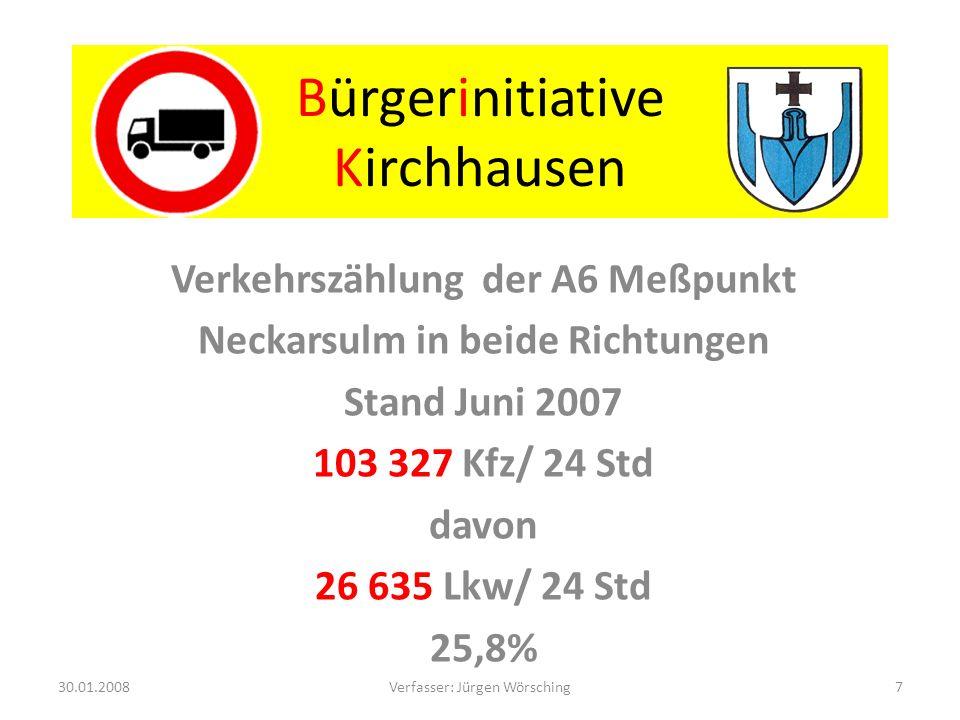 Bürgerinitiative Kirchhausen Die Zukunft nach BVWP und acatech 2015 bis 2020 74 844 Lkw/ 24 Std 37 422 Lkw/ 24 Std in eine Richtung 30.01.20088Verfasser: Jürgen Wörsching