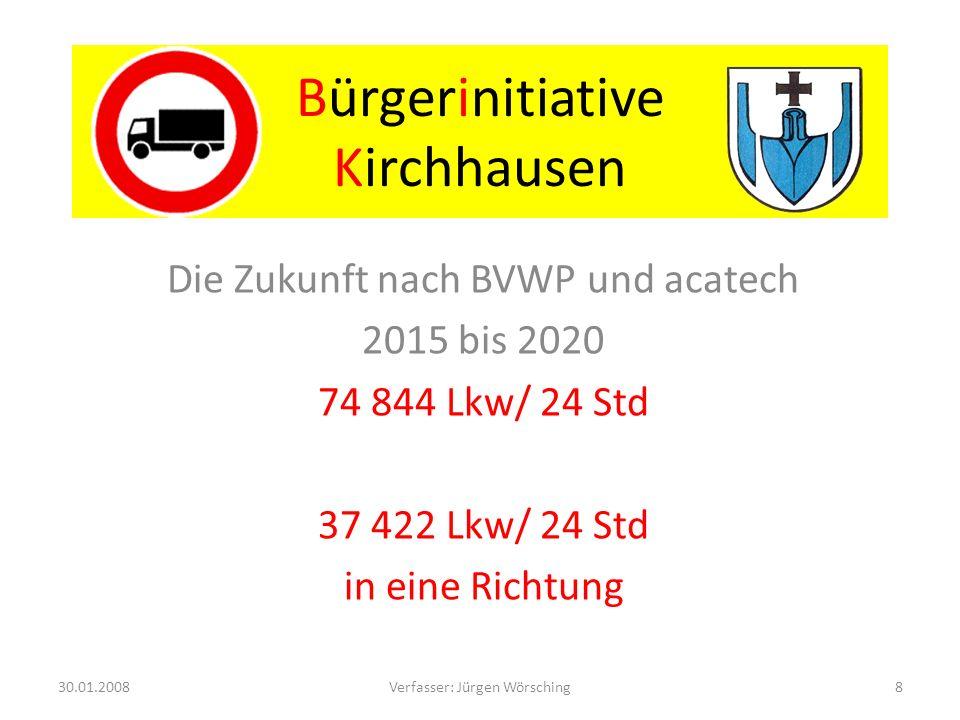 Bürgerinitiative Kirchhausen Berechnungsbeispiel Lkw: Geschwindigkeit 80 Km/h Länge 18 m Abstand 50 m Alle 3 Sekunden ein Lkw 1200 Lkw/Std 28 800 Lkw/24 Std 30.01.20089Verfasser: Jürgen Wörsching