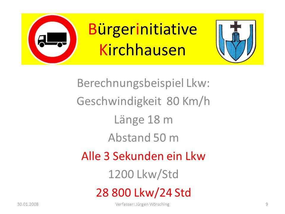 Bürgerinitiative Kirchhausen Lärmschutz: -60 dB (A) Nachts - 70 dB (A) Tags Eine Maßnahme muss mindestens eine Minderung des Lärmpegels von 3 dB (A) bewirken.