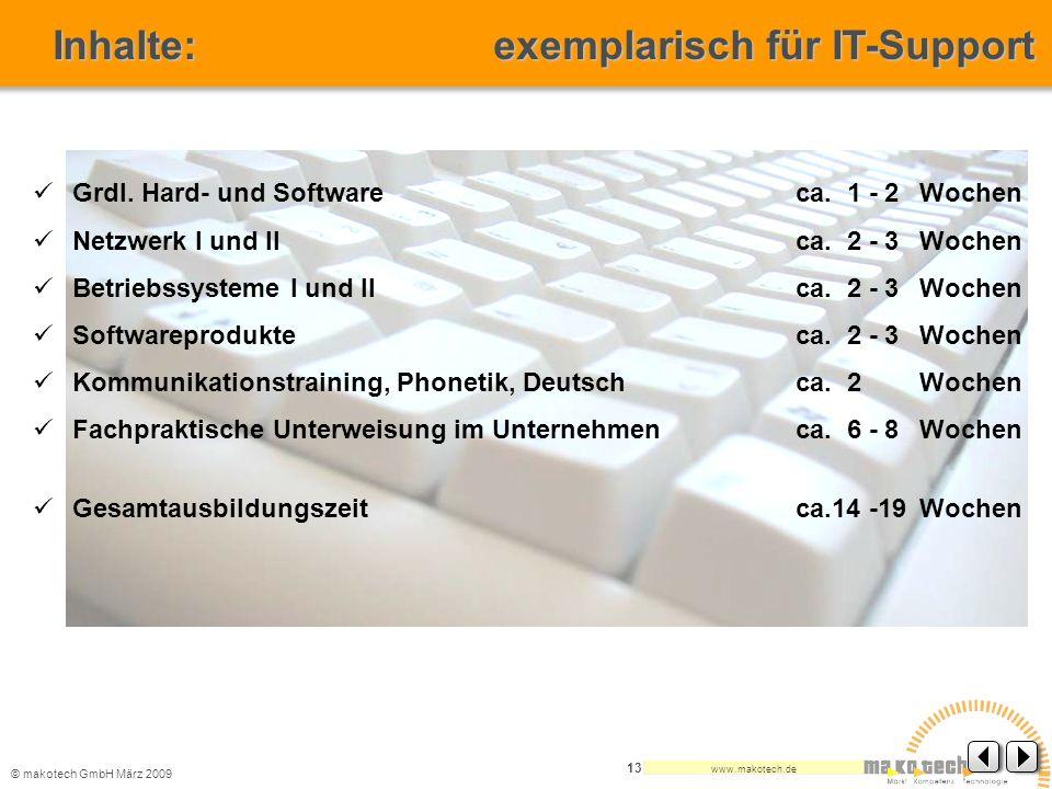 © makotech GmbHMärz 2009 www.makotech.de 13 Grdl. Hard- und Software ca. 1 - 2Wochen Netzwerk I und II ca. 2 - 3Wochen Betriebssysteme I und II ca. 2