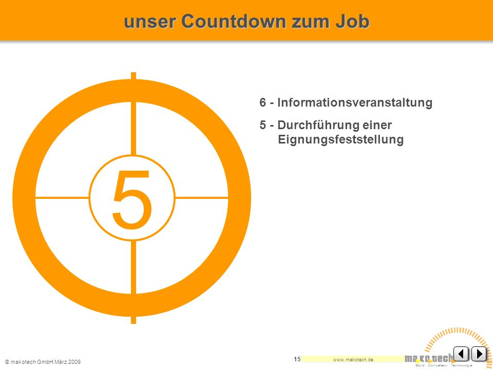 © makotech GmbHMärz 2009 www.makotech.de 15 6 - Informationsveranstaltung 5 - Durchführung einer Eignungsfeststellung 5 unser Countdown zum Job