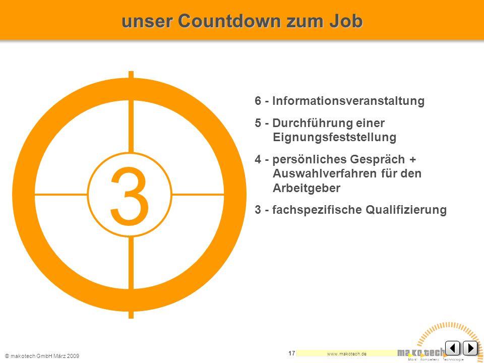 © makotech GmbHMärz 2009 www.makotech.de 17 6 - Informationsveranstaltung 5 - Durchführung einer Eignungsfeststellung 4 - persönliches Gespräch + Ausw