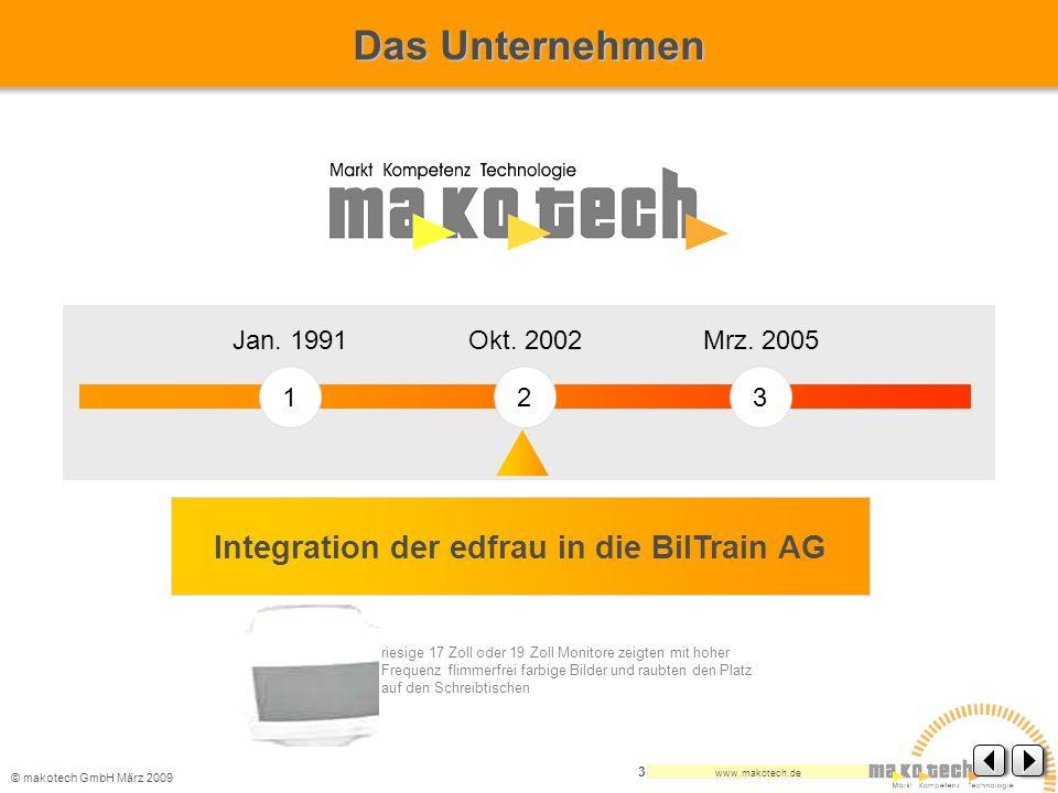 © makotech GmbHMärz 2009 www.makotech.de 3 123 Jan. 1991 Integration der edfrau in die BilTrain AG Okt. 2002Mrz. 2005 Das Unternehmen riesige 17 Zoll