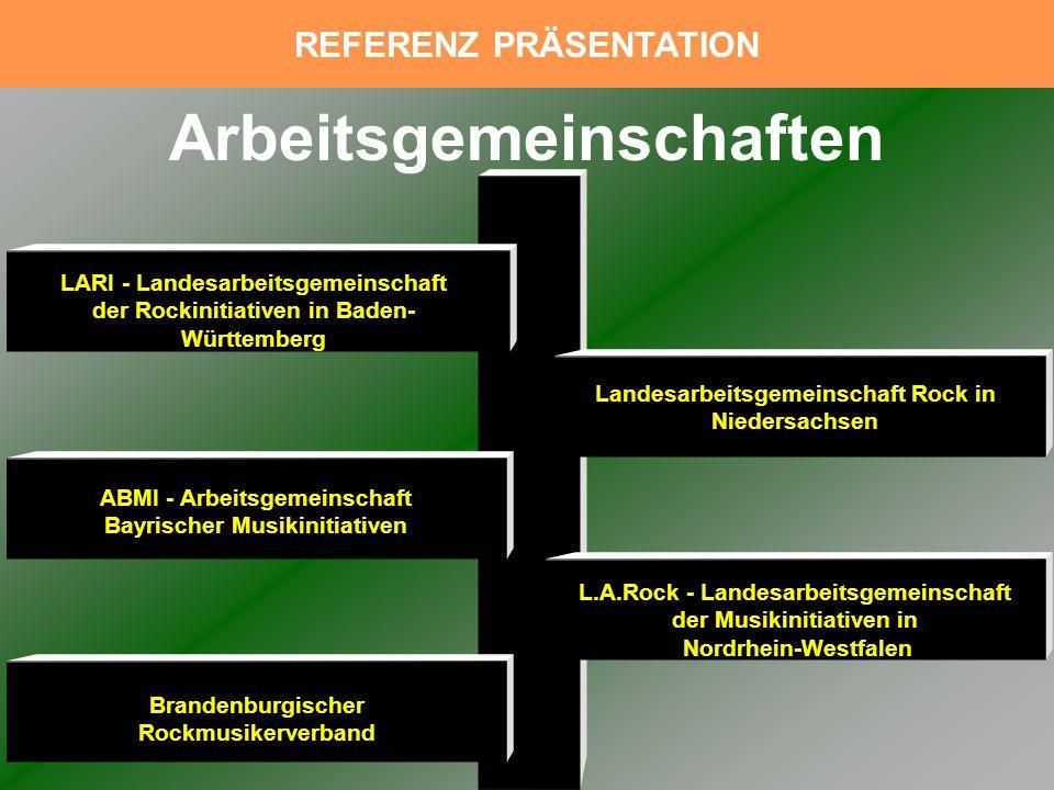LARI - Landesarbeitsgemeinschaft der Rockinitiativen in Baden- Württemberg ABMI - Arbeitsgemeinschaft Bayrischer Musikinitiativen Brandenburgischer Ro