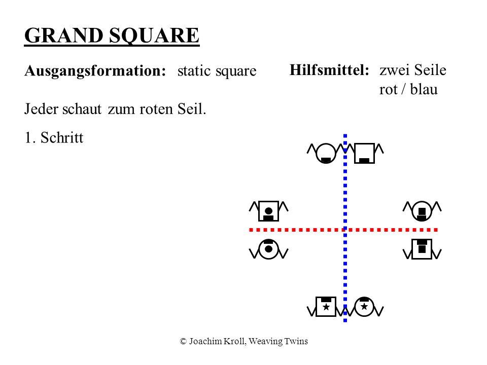 © Joachim Kroll, Weaving Twins GRAND SQUARE Ausgangsformation:static square Hilfsmittel:zwei Seile rot / blau Jeder schaut zum roten Seil.