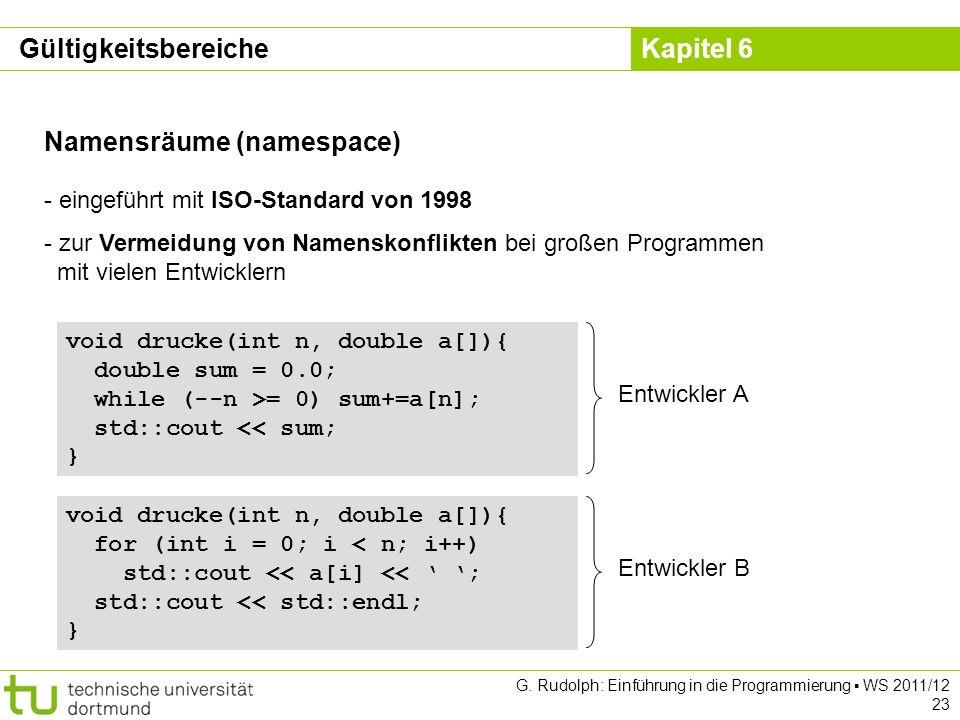 Kapitel 6 G. Rudolph: Einführung in die Programmierung WS 2011/12 23 Namensräume (namespace) - eingeführt mit ISO-Standard von 1998 - zur Vermeidung v