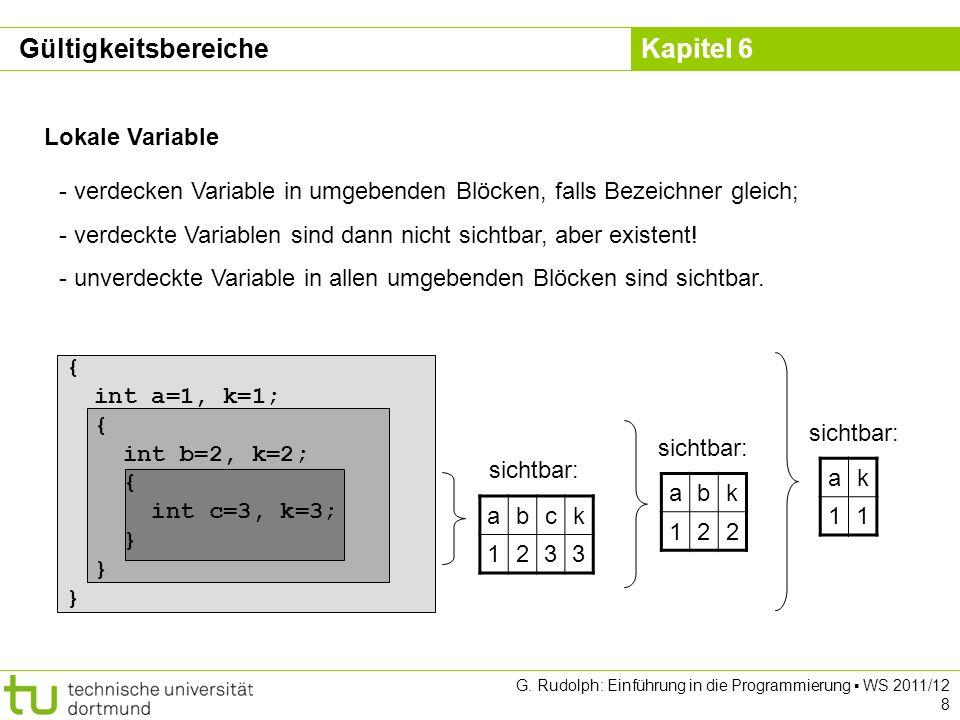 Kapitel 6 G. Rudolph: Einführung in die Programmierung WS 2011/12 8 Lokale Variable - verdecken Variable in umgebenden Blöcken, falls Bezeichner gleic
