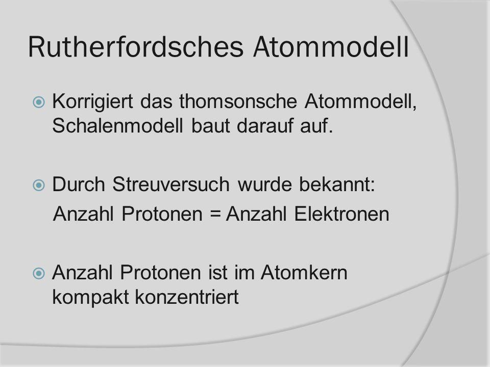 Korrigiert das thomsonsche Atommodell, Schalenmodell baut darauf auf. Durch Streuversuch wurde bekannt: Anzahl Protonen = Anzahl Elektronen Anzahl Pro