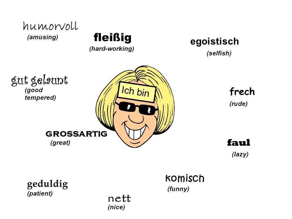 egoistisch (selfish) frech (rude) faul (lazy) komisch (funny) net t (nice) Ich bin geduldig (patient) grossartig (great) gut gelaunt (good tempered) humorvoll (amusing) (hard-working)