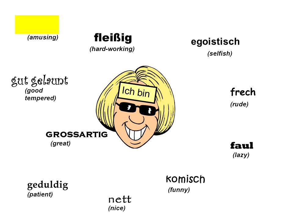 egoistisch (selfish) frech (rude) faul (lazy) komisc h (funny) net t (nice) Ich bin (patient) grossartig (great) gut gelaunt (good tempered) humorvoll (amusing) fleißig (hard-working)