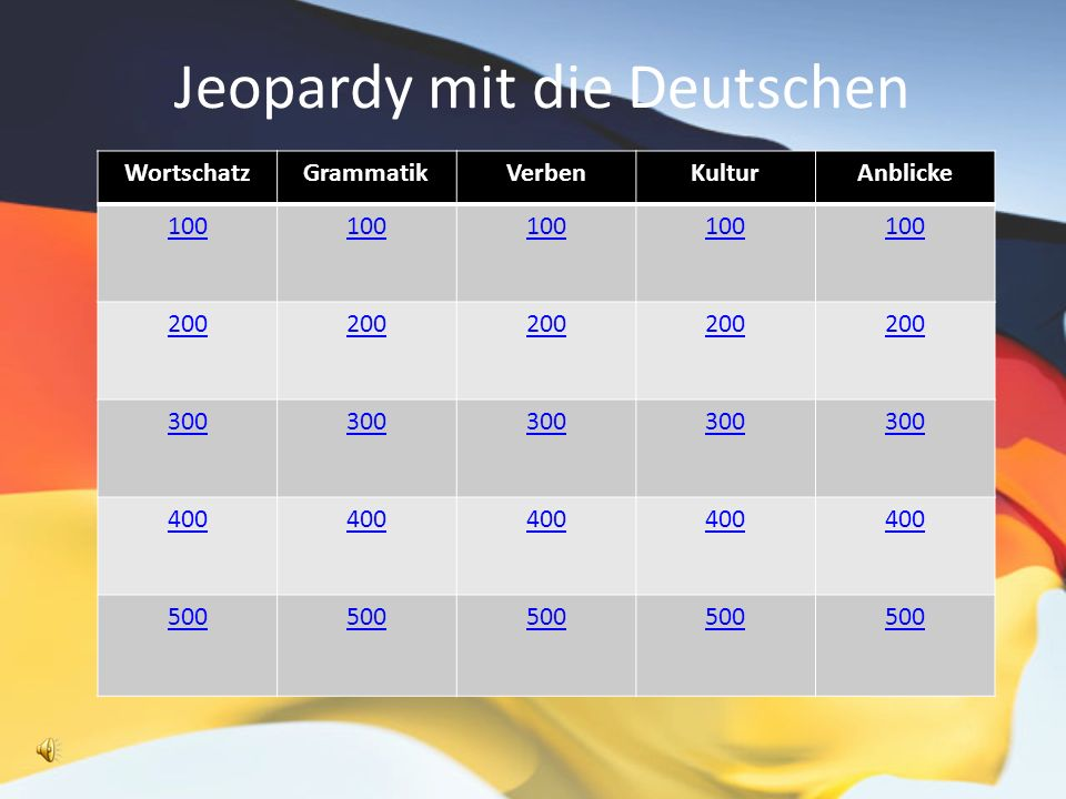 Jeopardy mit die Deutschen WortschatzGrammatikVerbenKulturAnblicke 100 200 300 400 500