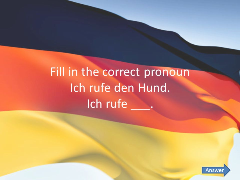 Fill in the correct pronoun Ich rufe den Hund. Ich rufe ___. Answer