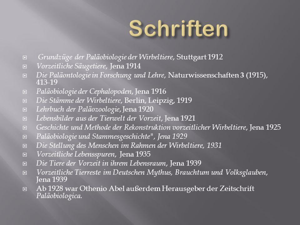 Grundzüge der Paläobiologie der Wirbeltiere, Stuttgart 1912 Vorzeitliche Säugetiere, Jena 1914 Die Paläontologie in Forschung und Lehre, Naturwissensc