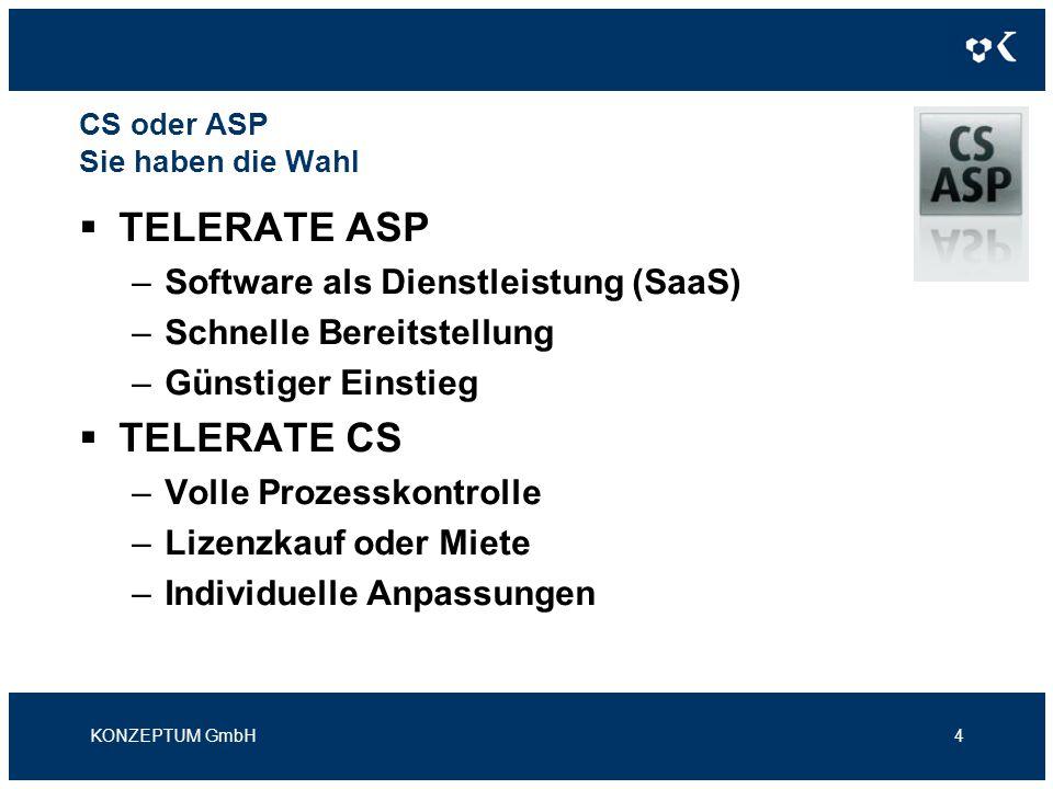 CS oder ASP Sie haben die Wahl TELERATE ASP –Software als Dienstleistung (SaaS) –Schnelle Bereitstellung –Günstiger Einstieg TELERATE CS –Volle Prozesskontrolle –Lizenzkauf oder Miete –Individuelle Anpassungen KONZEPTUM GmbH4