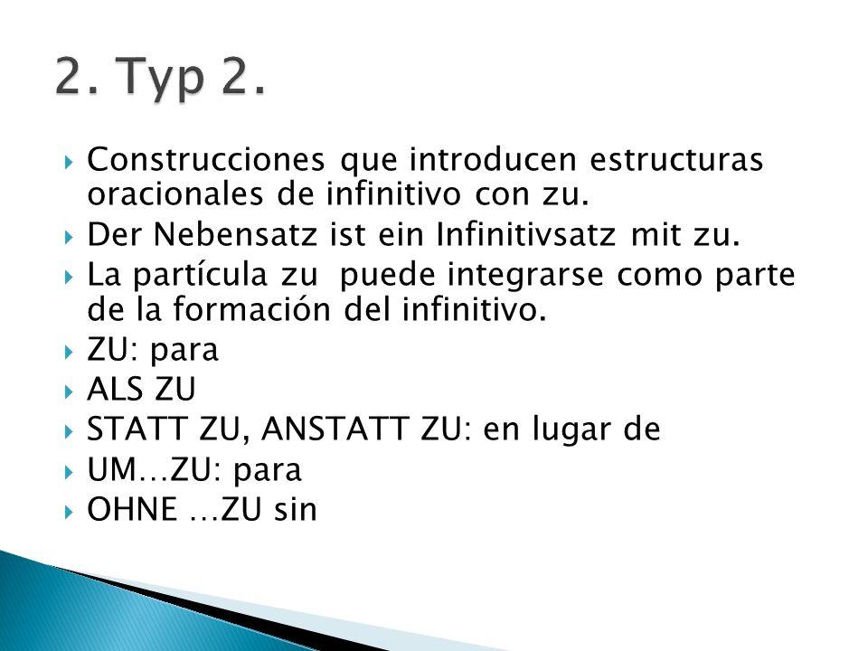 Construcciones que introducen estructuras oracionales de infinitivo con zu. Der Nebensatz ist ein Infinitivsatz mit zu. La partícula zu puede integrar