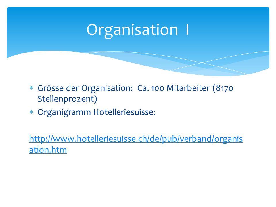 Grösse der Organisation: Ca. 100 Mitarbeiter (8170 Stellenprozent) Organigramm Hotelleriesuisse: http://www.hotelleriesuisse.ch/de/pub/verband/organis