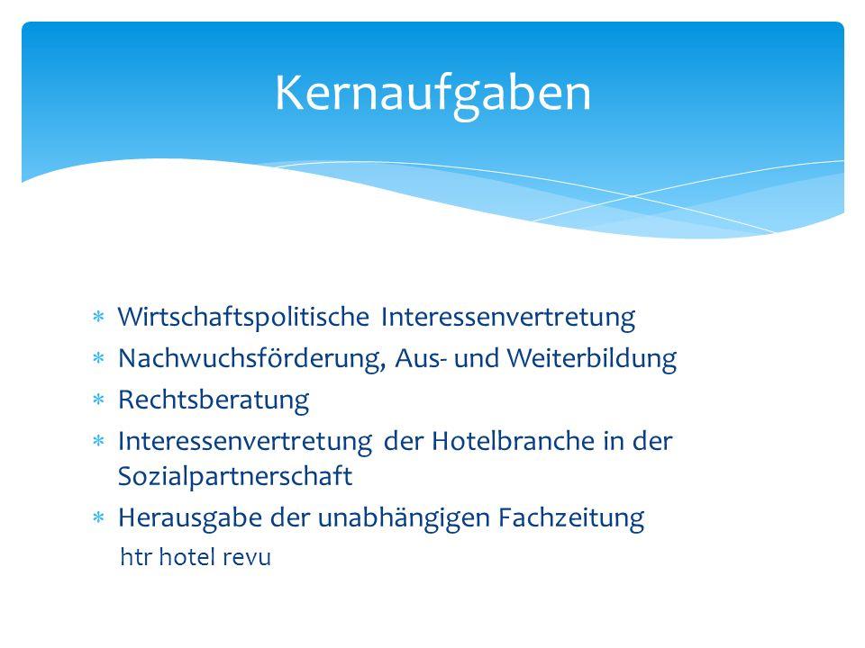 Wirtschaftspolitische Interessenvertretung Nachwuchsförderung, Aus- und Weiterbildung Rechtsberatung Interessenvertretung der Hotelbranche in der Sozi