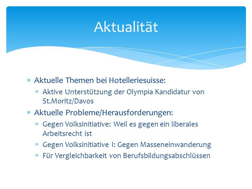 Aktuelle Themen bei Hotelleriesuisse: Aktive Unterstützung der Olympia Kandidatur von St.Moritz/Davos Aktuelle Probleme/Herausforderungen: Gegen Volks