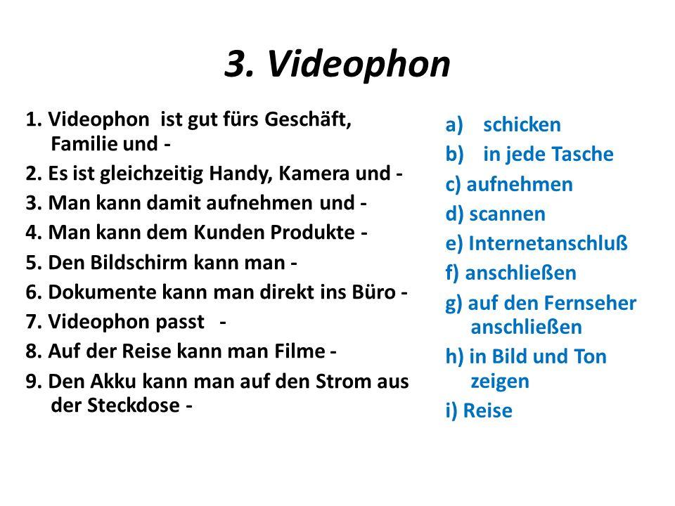 3. Videophon 1. Videophon ist gut fürs Geschäft, Familie und - 2.